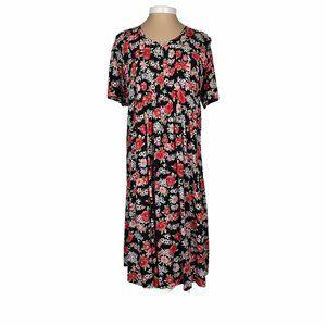 Vintage 90s Cottage Core Floral Midi Dress Size 18